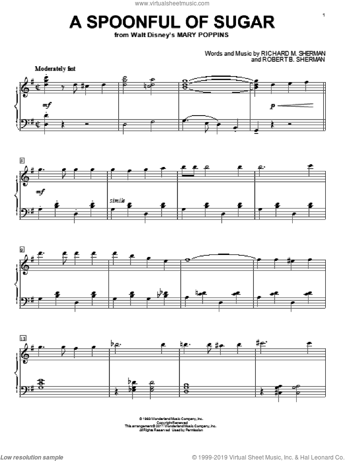 A Spoonful Of Sugar sheet music for piano solo by Sherman Brothers, Mary Poppins (Movie), Richard M. Sherman and Robert B. Sherman, intermediate skill level