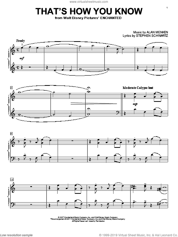 That's How You Know sheet music for piano solo by Amy Adams, Alan Menken and Stephen Schwartz. Score Image Preview.