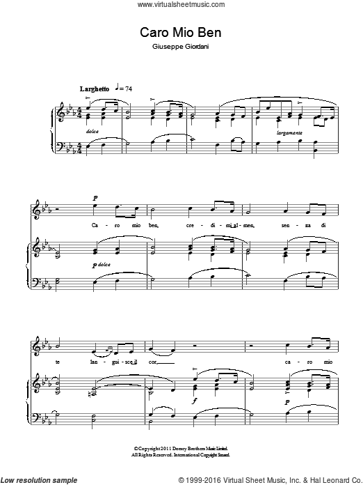 Caro Mio Ben sheet music for voice and piano by Giuseppe Giordani. Score Image Preview.