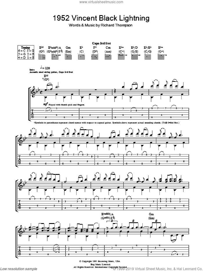 1952 Vincent Black Lightning sheet music for guitar (tablature) by Richard Thompson, intermediate. Score Image Preview.