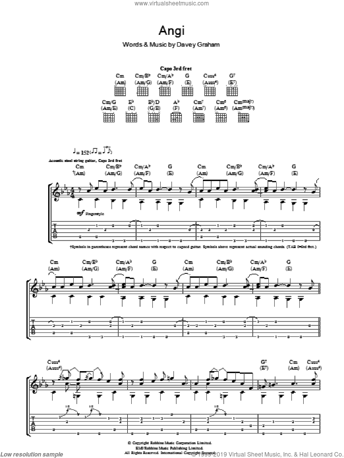 Angi sheet music for guitar (tablature) by Davey Graham, intermediate skill level