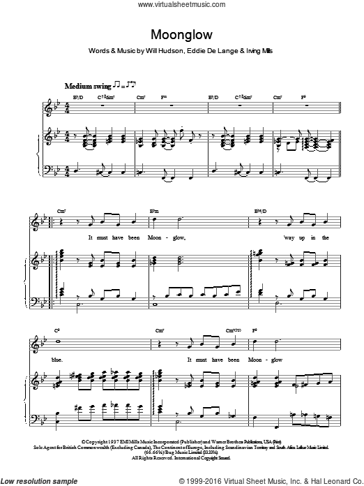 Moonglow sheet music for voice and piano by Rod Stewart, Eddie DeLange, Irving Mills and Will Hudson, intermediate voice. Score Image Preview.