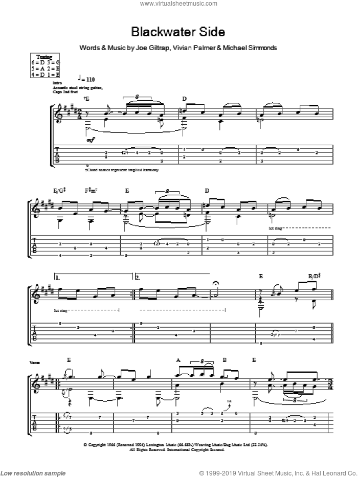 Blackwater Side sheet music for guitar (tablature) by Vivian Palmer