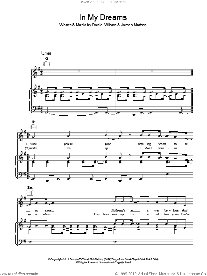In My Dreams sheet music for voice, piano or guitar by James Morrison and Dan Wilson, intermediate