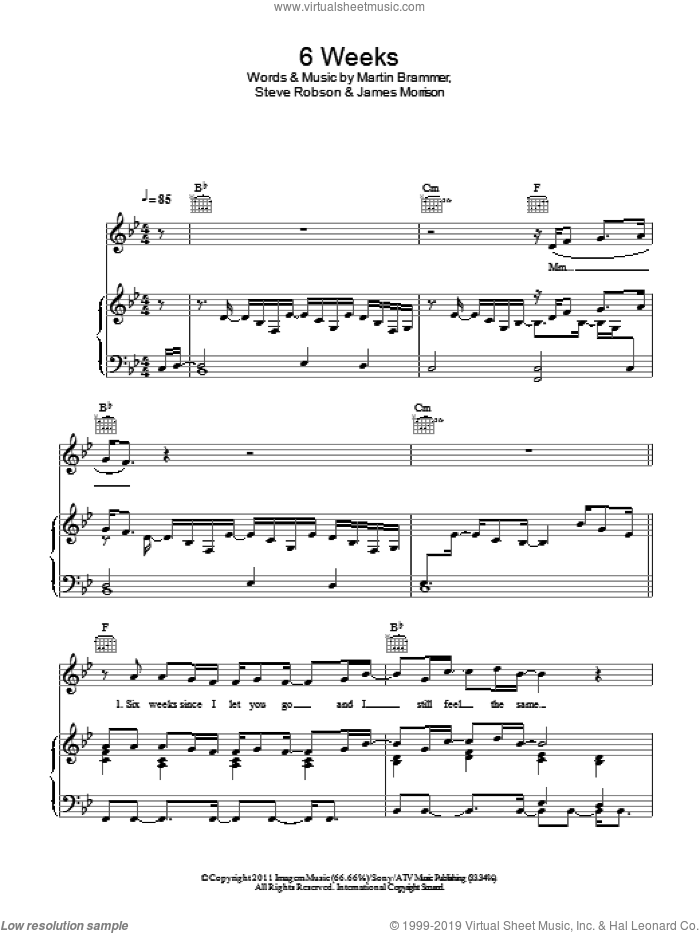 6 Weeks sheet music for voice, piano or guitar by James Morrison, intermediate. Score Image Preview.