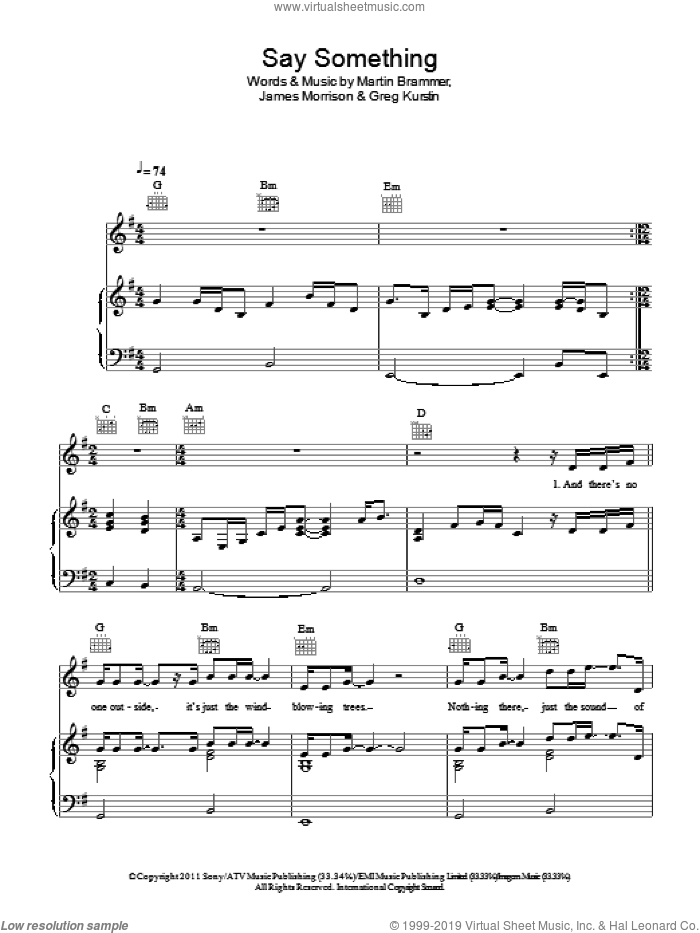 Say Something Now sheet music for voice, piano or guitar by Martin Brammer, Greg Kurstin and James Morrison. Score Image Preview.