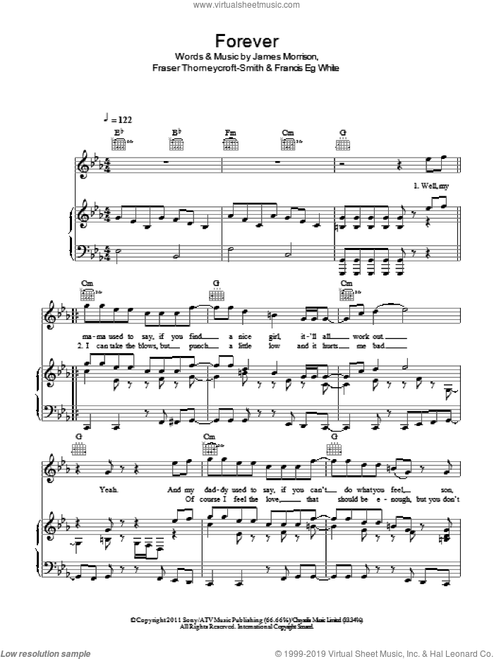 Forever sheet music for voice, piano or guitar by Fraser Thorneycroft-Smith, Francis White and James Morrison