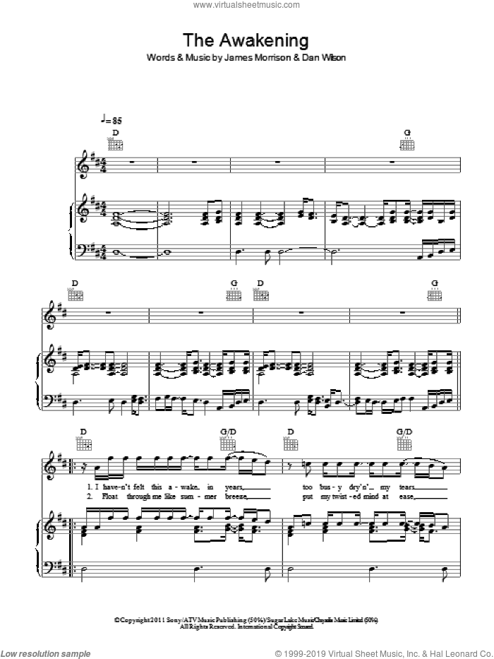 The Awakening sheet music for voice, piano or guitar by Dan Wilson and James Morrison. Score Image Preview.