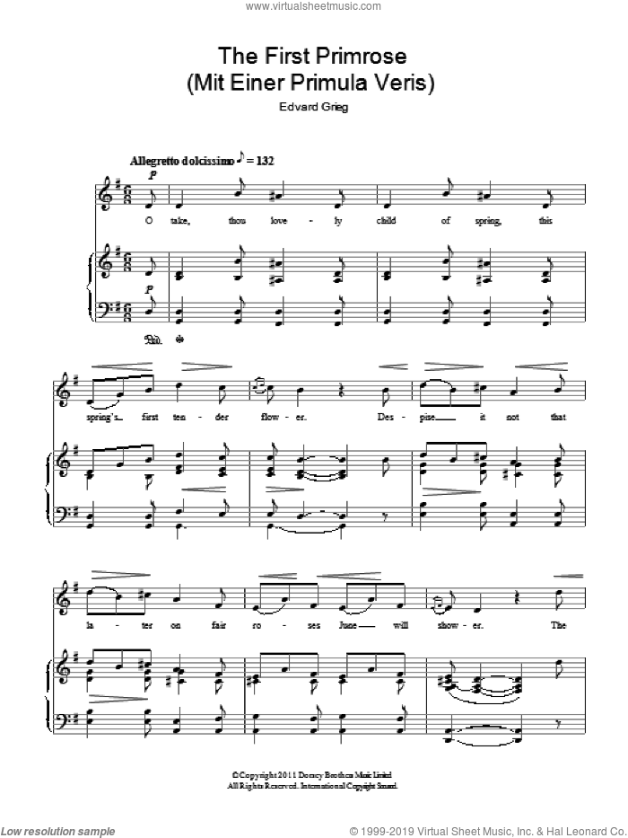 The First Primrose (Mit Einer Primula Veris) sheet music for voice and piano by Edward Grieg, classical score, intermediate. Score Image Preview.