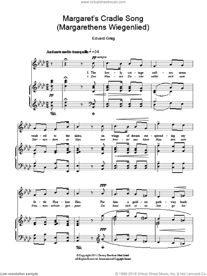 Margaret's Cradle Song (Margarethens Wiegenlied) sheet music for voice and piano by Edward Grieg, classical score, intermediate skill level