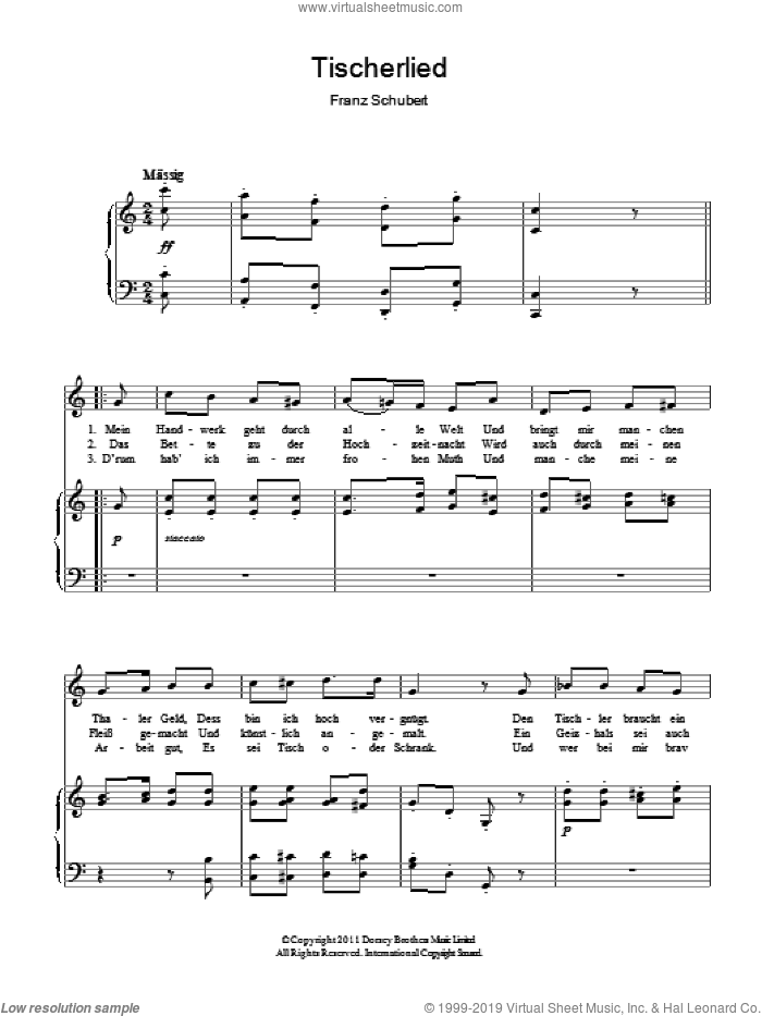 Tischlerlied sheet music for voice and piano by Franz Schubert, classical score, intermediate skill level