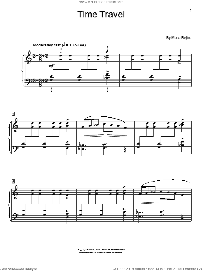 Time Travel sheet music for piano solo (elementary) by Mona Rejino, beginner piano (elementary). Score Image Preview.