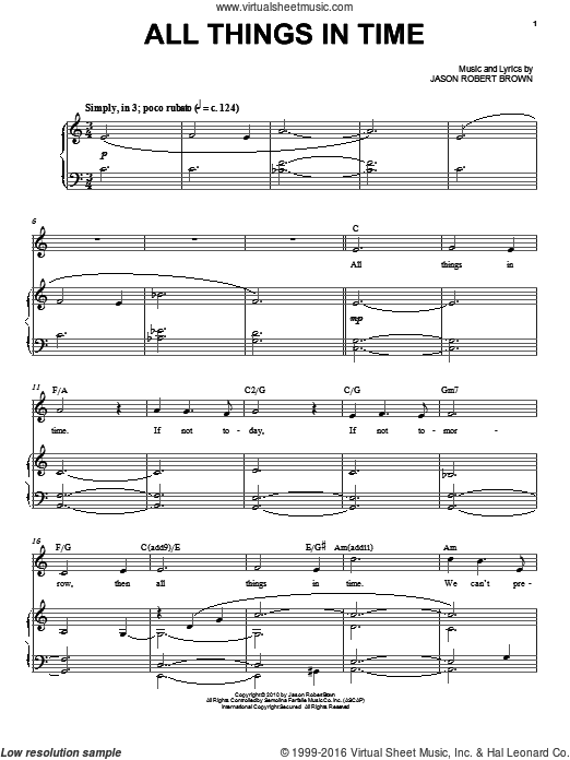 All Things In Time sheet music for voice and piano by Jason Robert Brown