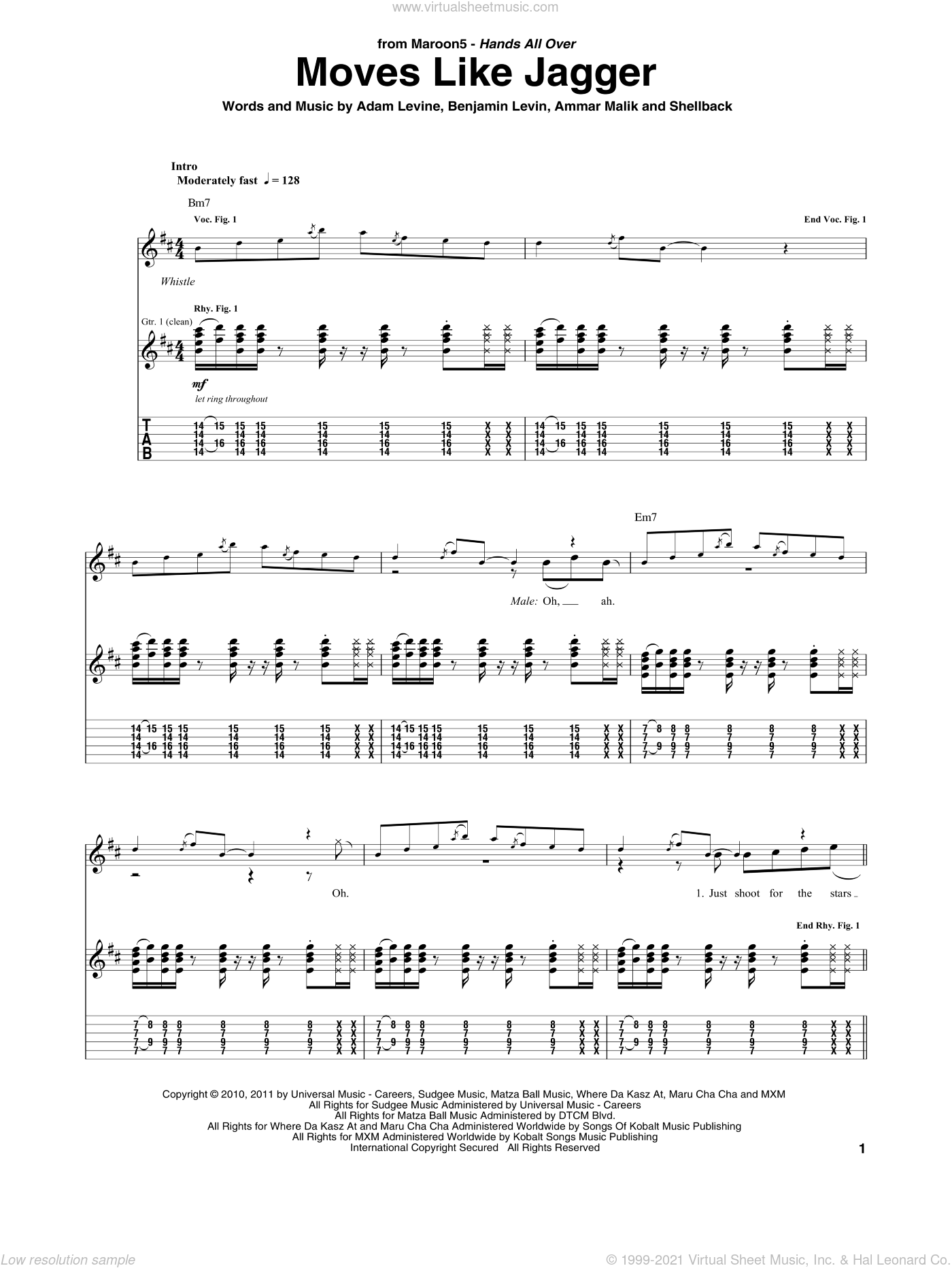 Moves Like Jagger sheet music for guitar (tablature) by Maroon 5 featuring Christina Aguilera, Christina Aguilera, Maroon 5, Adam Levine, Ammar Malk, Benjamin Levin and Johan Schuster, intermediate skill level