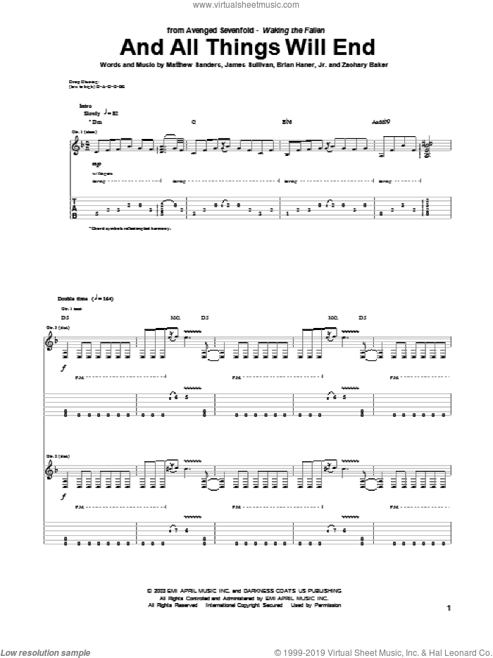 And All Things Will End sheet music for guitar (tablature) by Avenged Sevenfold, Brian Haner, Jr., James Sullivan, Matthew Sanders and Zachary Baker, intermediate. Score Image Preview.