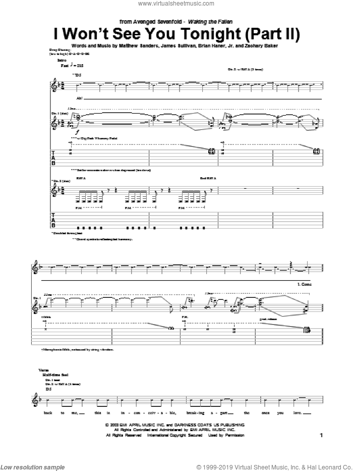 I Won't See You Tonight (Part II) sheet music for guitar (tablature) by Zachary Baker and Avenged Sevenfold. Score Image Preview.