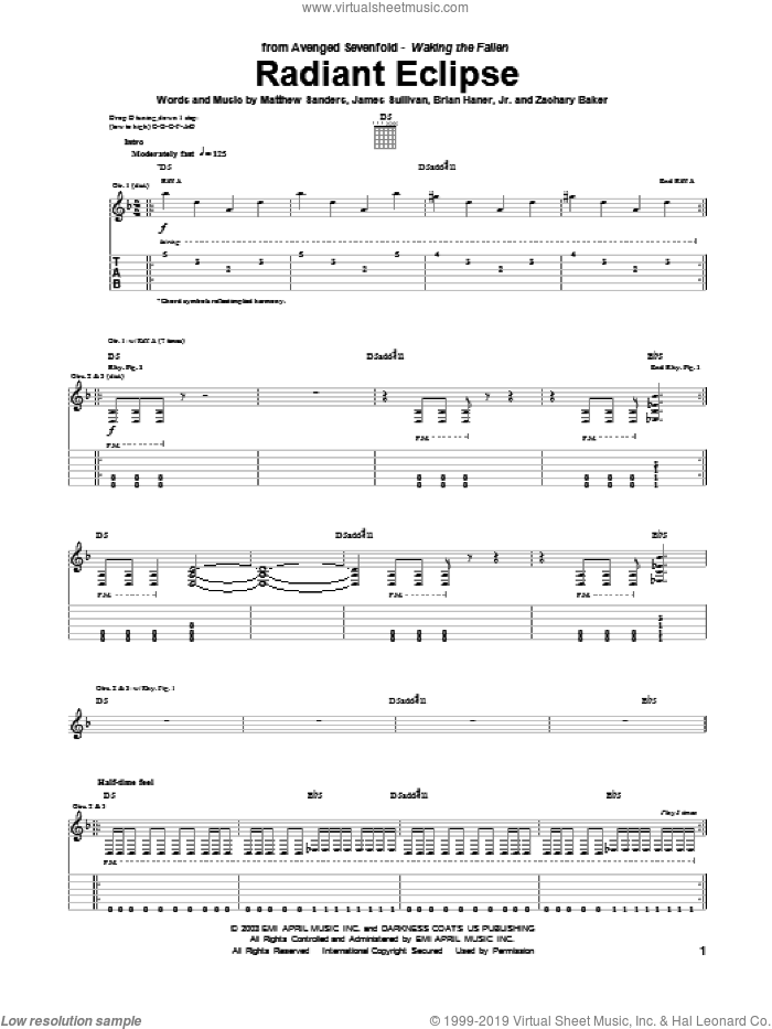 Radiant Eclipse sheet music for guitar (tablature) by Avenged Sevenfold, Brian Haner, Jr., James Sullivan, Matthew Sanders and Zachary Baker, intermediate. Score Image Preview.