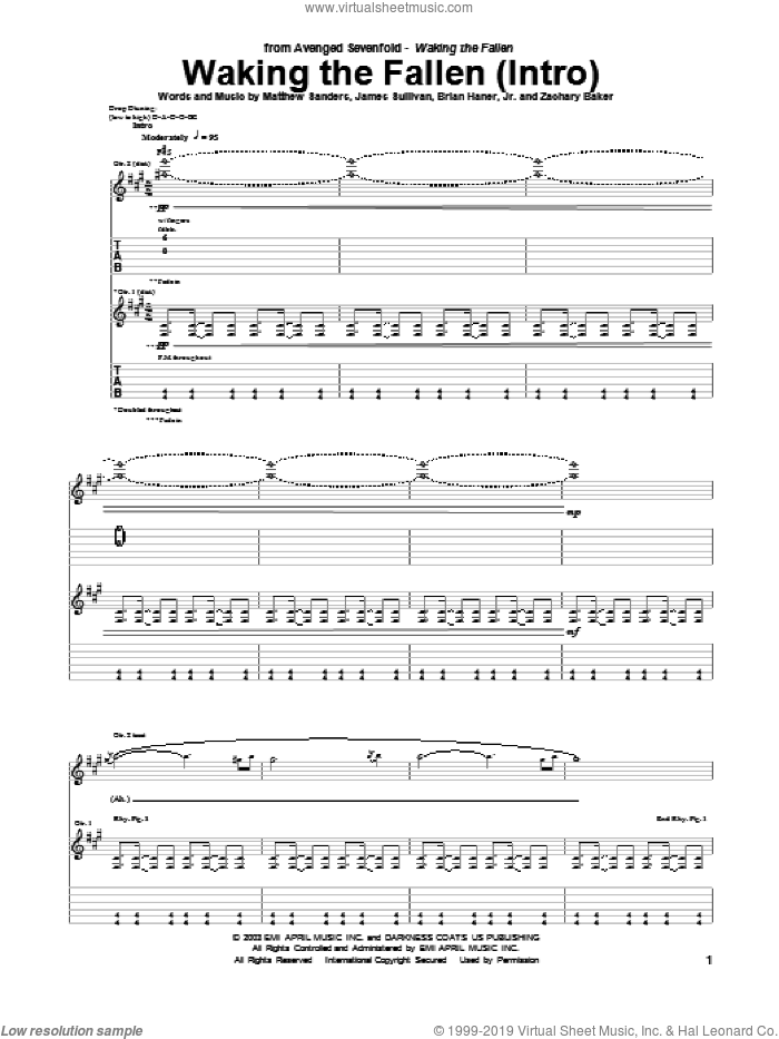 Waking The Fallen (Intro) sheet music for guitar (tablature) by Avenged Sevenfold, Brian Haner, Jr., James Sullivan, Matthew Sanders and Zachary Baker, intermediate skill level