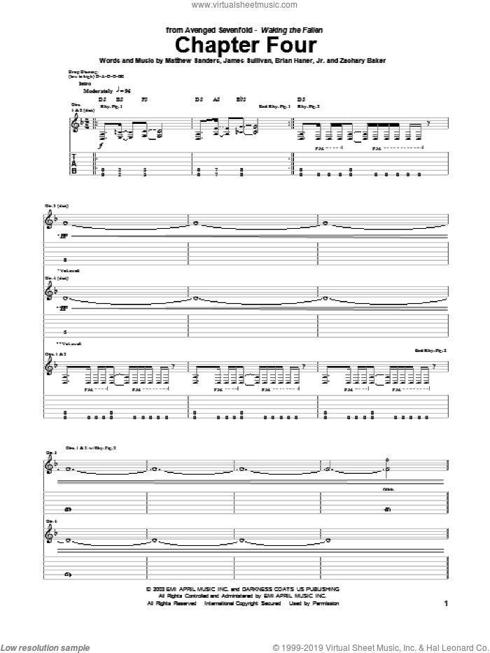 Chapter Four sheet music for guitar (tablature) by Avenged Sevenfold. Score Image Preview.