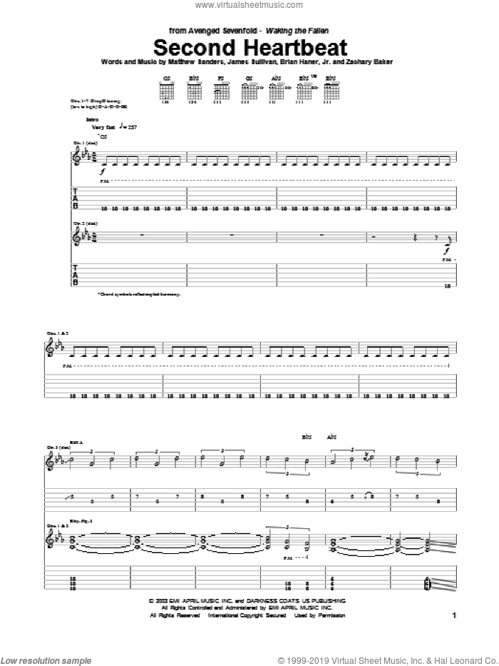Second Heartbeat sheet music for guitar (tablature) by Avenged Sevenfold. Score Image Preview.