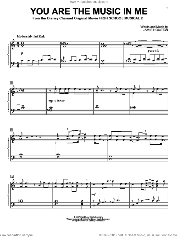 You Are The Music In Me sheet music for piano solo by High School Musical 2 and Jamie Houston, intermediate skill level