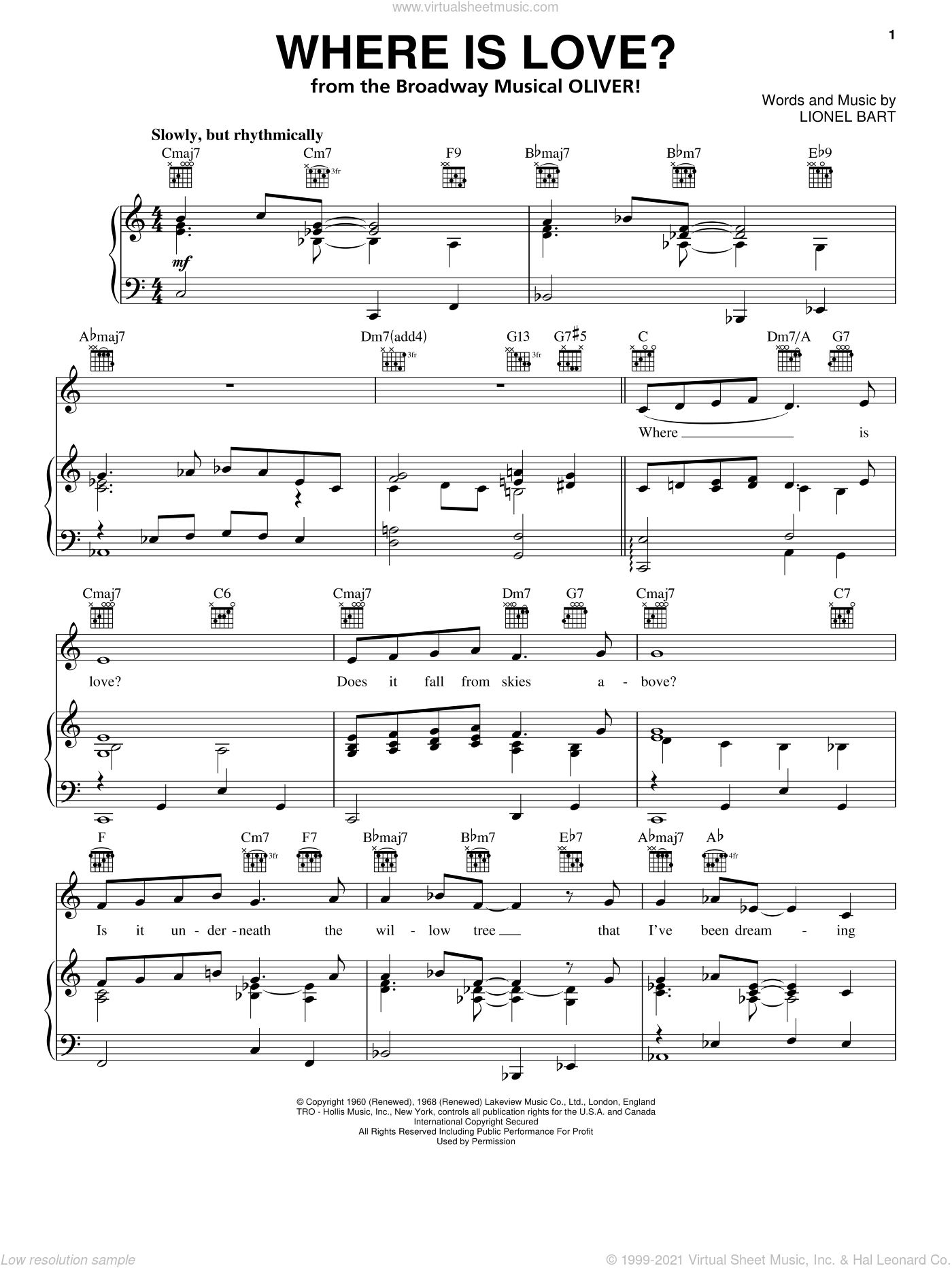 Where Is Love? sheet music for voice, piano or guitar by Lionel Bart and Oliver! (Musical), intermediate. Score Image Preview.
