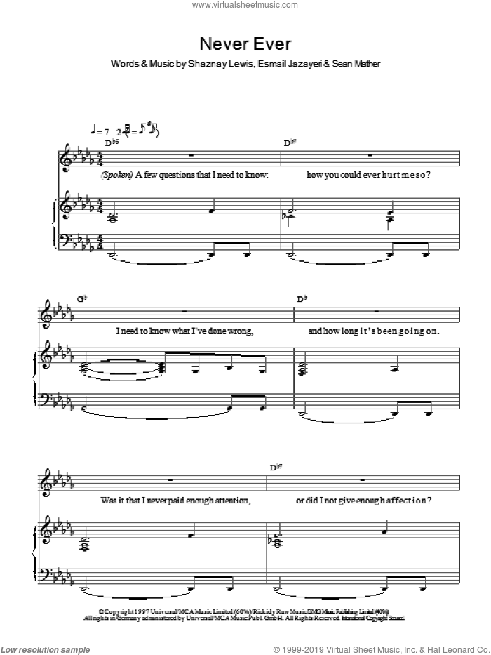 Never Ever sheet music for voice and piano by Shaznay Lewis