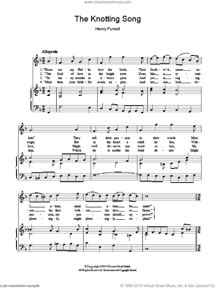 The Knotting Song sheet music for voice and piano by Henry Purcell, classical score, intermediate voice. Score Image Preview.