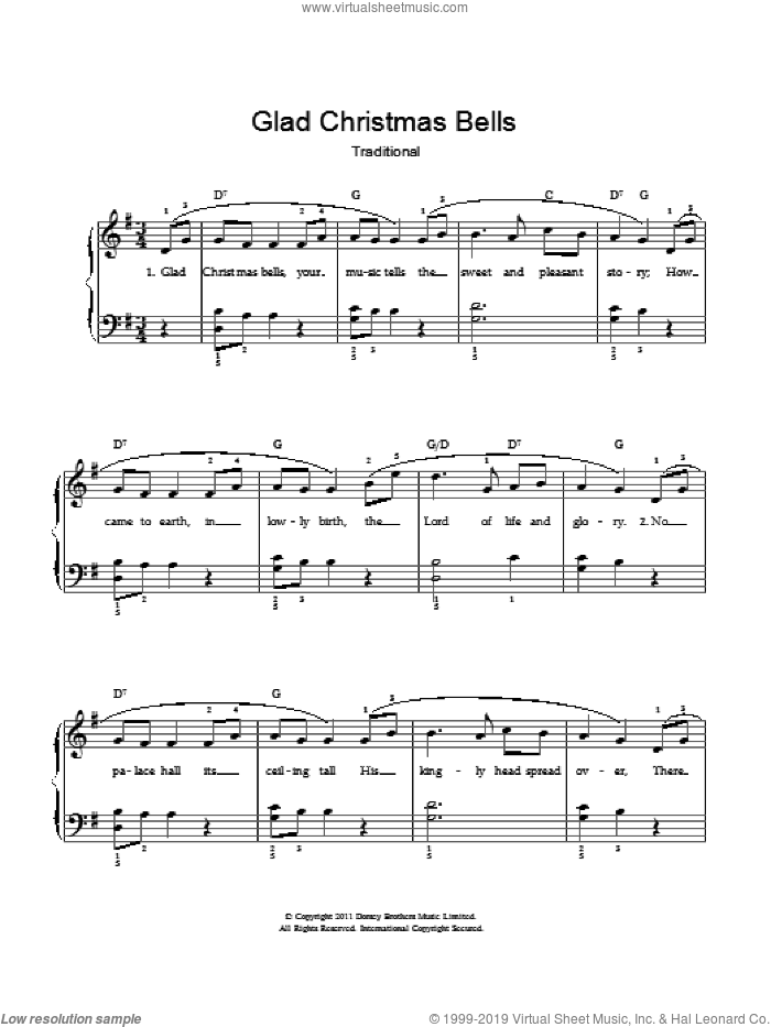 Glad Christmas Bells sheet music for voice and piano by Traditional American Carol and Miscellaneous, intermediate. Score Image Preview.