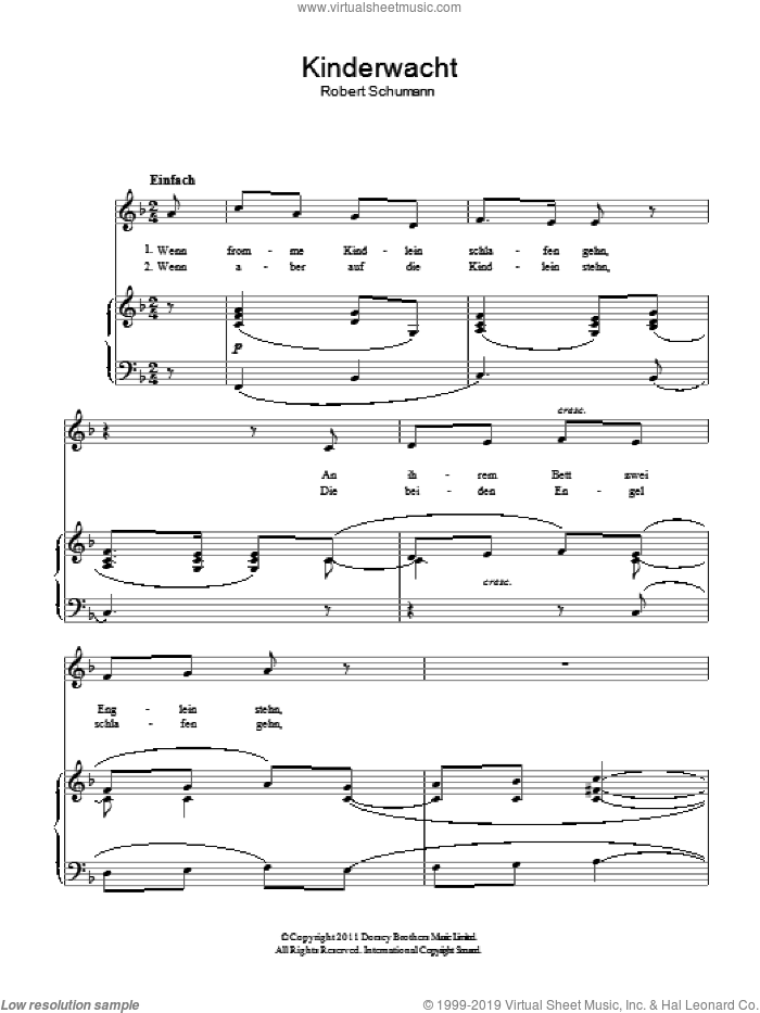 The Children's Watch (Kinderwacht) sheet music for voice and piano by Robert Schumann. Score Image Preview.