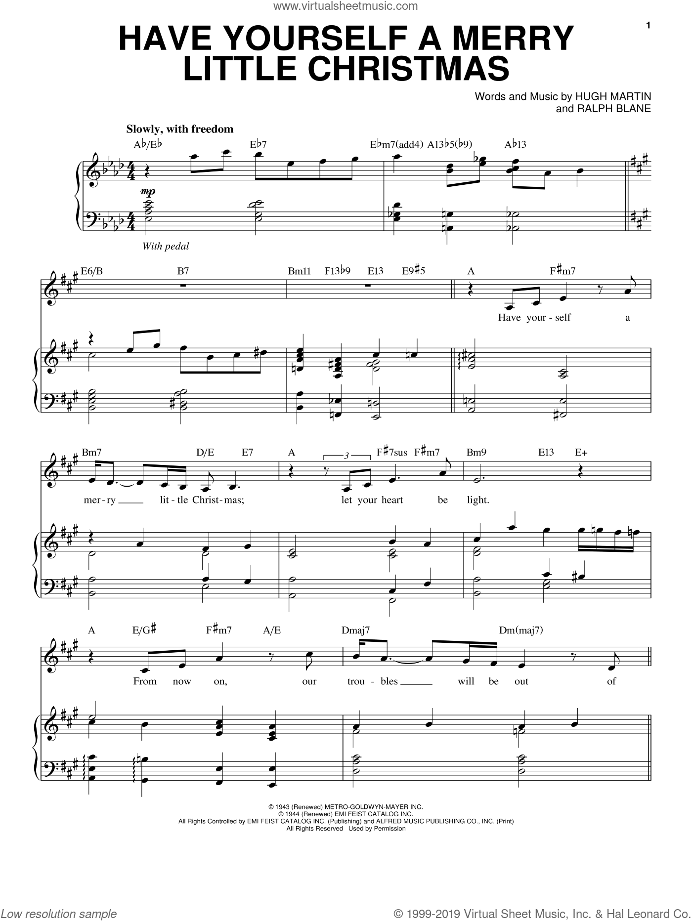 Have Yourself A Merry Little Christmas sheet music for voice and piano by Ralph Blane