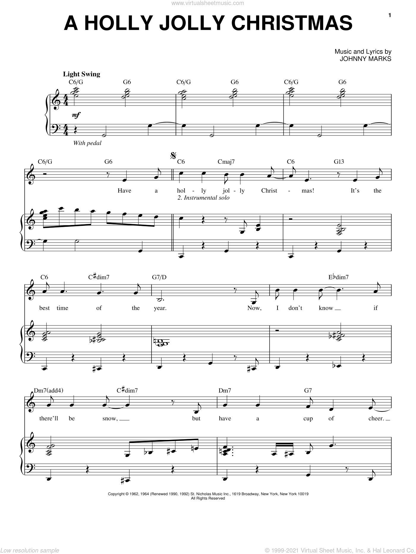 A Holly Jolly Christmas sheet music for voice and piano by Michael Buble and Johnny Marks, intermediate skill level