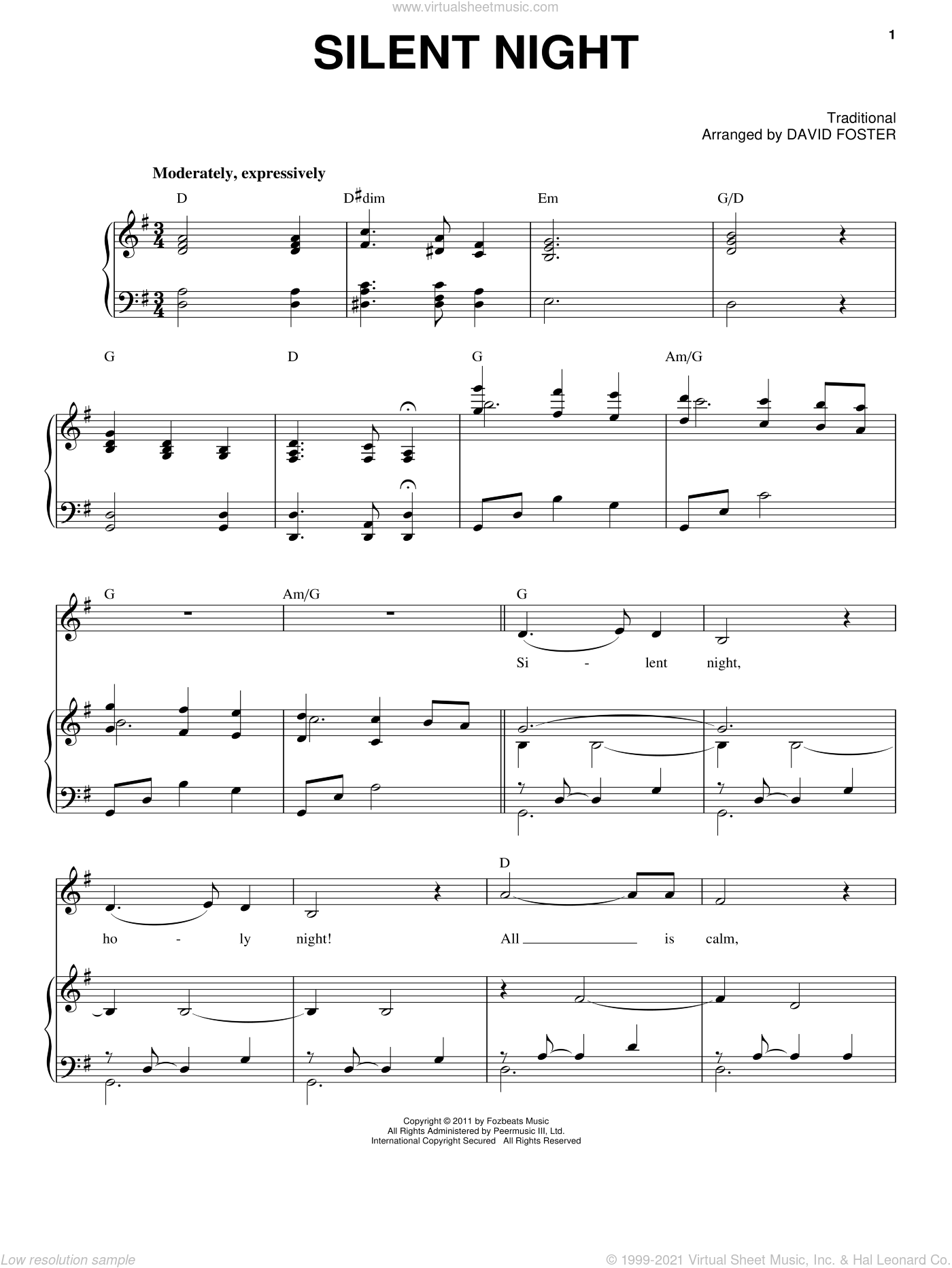 Silent Night sheet music for voice and piano by Michael Buble and David Foster, intermediate skill level