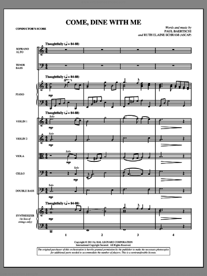 Come, Dine With Me sheet music for orchestra/band (full score) by Paul Baertschi