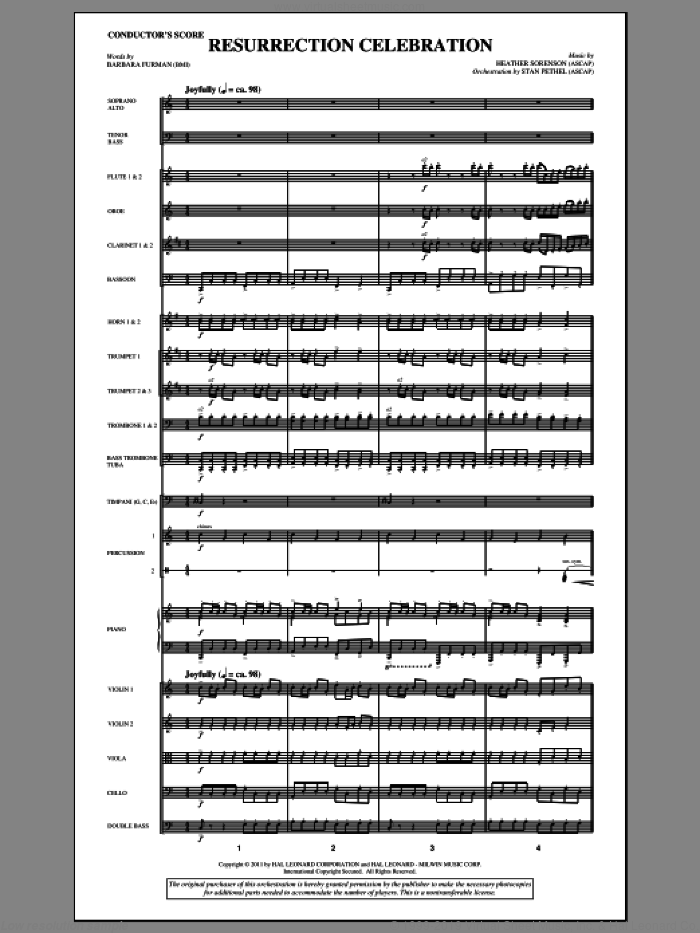 Resurrection Celebration (complete set of parts) sheet music for orchestra/band (Orchestra) by Heather Sorenson and Barbara Furman, intermediate