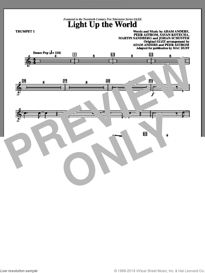 Light Up The World (complete set of parts) sheet music for orchestra/band by Peer Astrom, Adam Anders, Johan Schuster, Martin Sandberg, Savan Kotecha, Glee Cast and Mac Huff, intermediate skill level