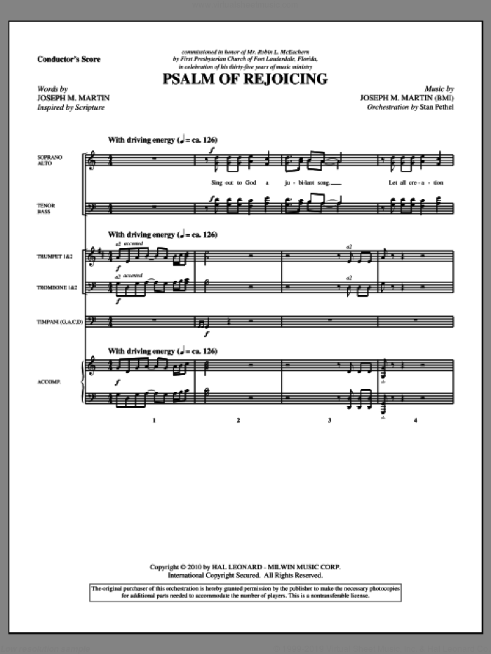Psalm Of Rejoicing (complete set of parts) sheet music for orchestra/band (Orchestra) by Joseph M. Martin, intermediate skill level