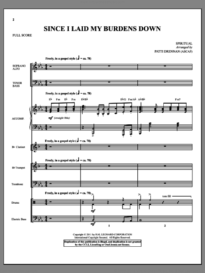 Since I Laid My Burdens Down (complete set of parts) sheet music for orchestra/band (Orchestra) by Patti Drennan, intermediate skill level