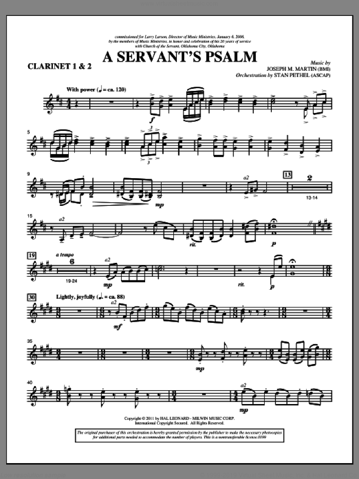 A Servant's Psalm sheet music for orchestra/band (Bb clarinet 1,2) by Joseph M. Martin