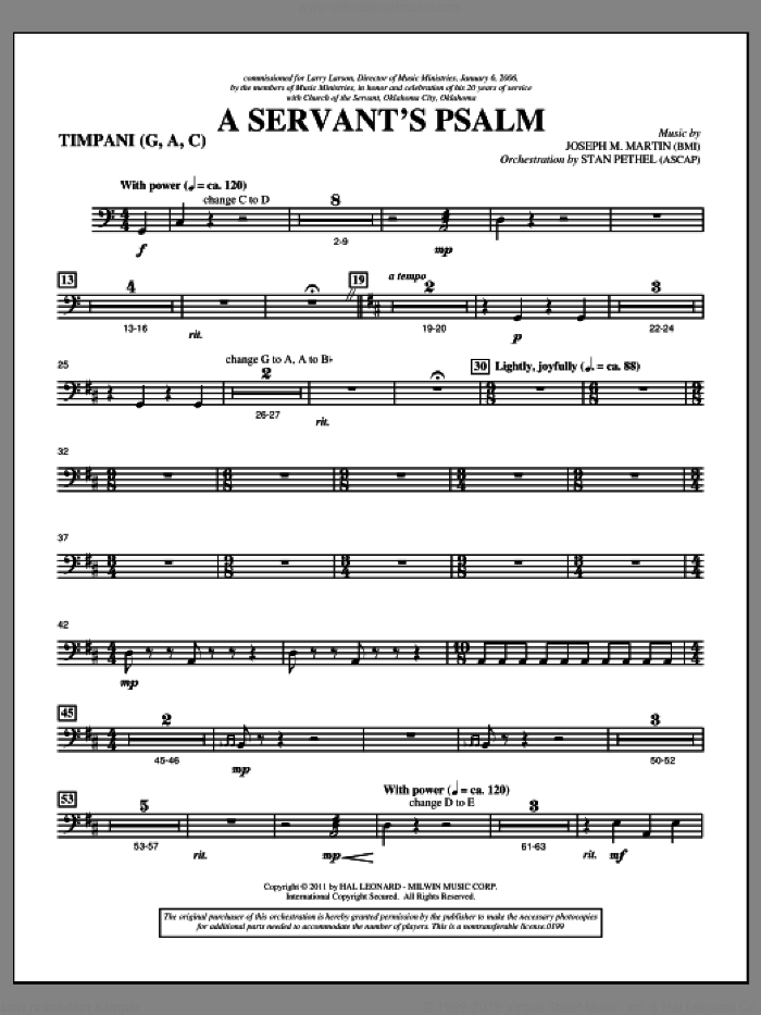 A Servant's Psalm sheet music for orchestra/band (timpani) by Joseph M. Martin