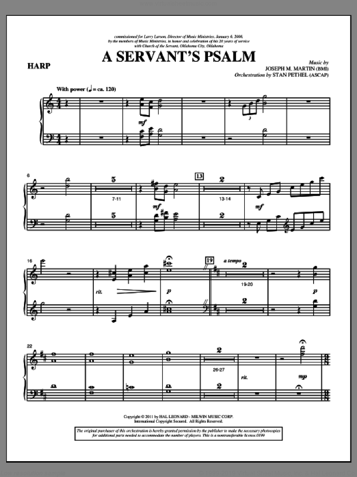 A Servant's Psalm sheet music for orchestra/band (harp) by Joseph M. Martin
