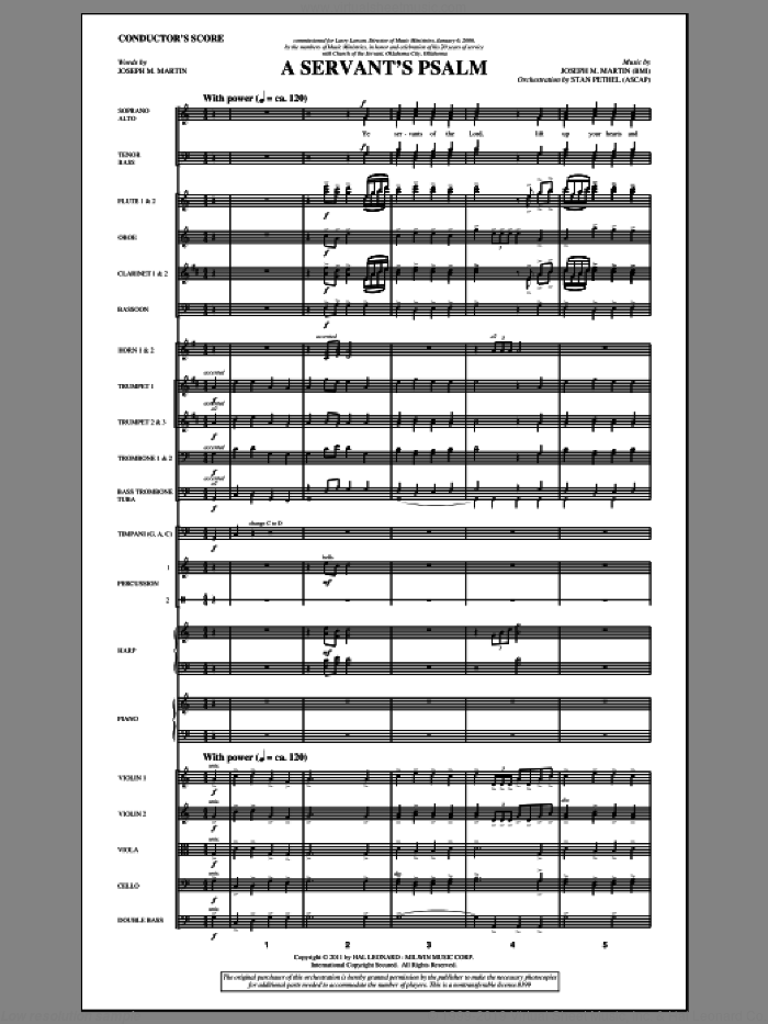 A Servant's Psalm (complete set of parts) sheet music for orchestra/band (Orchestra) by Joseph M. Martin, intermediate skill level