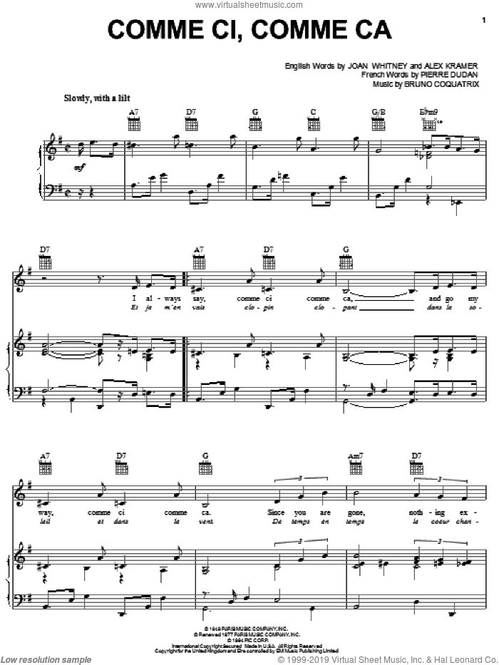 Comme Ci, Comme Ca sheet music for voice, piano or guitar by Andy Williams, Alex Kramer, Bruno Coquatrix, Joan Whitney and Pierre Dudan, intermediate skill level
