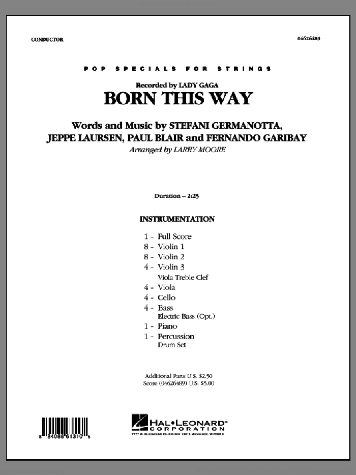 Born This Way (COMPLETE) sheet music for orchestra by Lady Gaga, Fernando Garibay, Jeppe Laursen, Paul Blair and Larry Moore, intermediate skill level