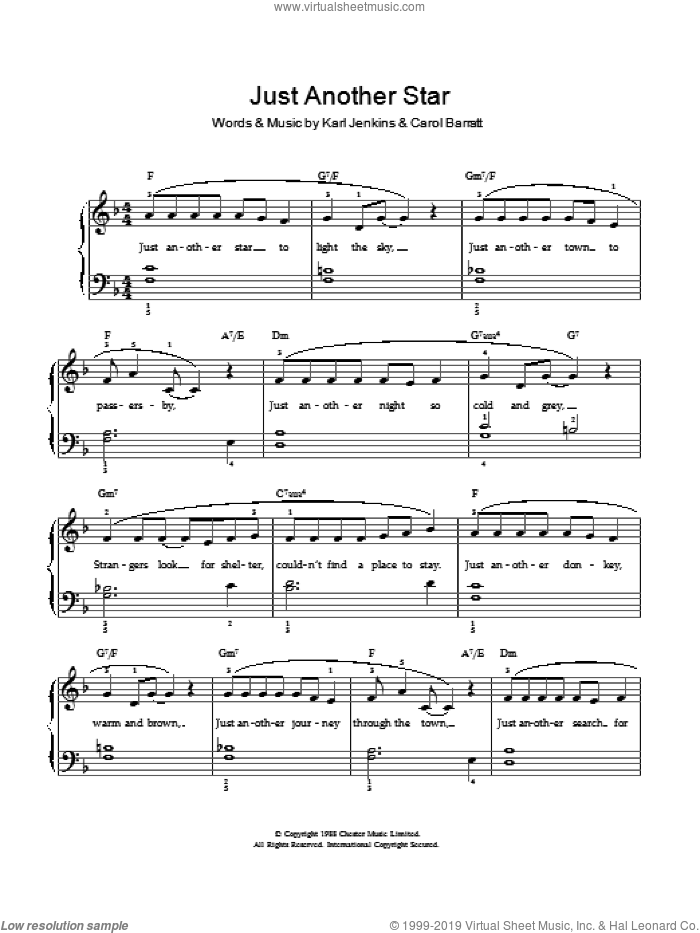 Just Another Star sheet music for voice and piano by Carol Barratt and Karl Jenkins. Score Image Preview.