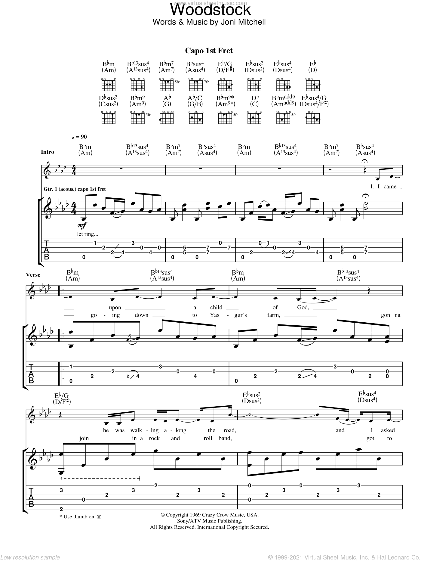Woodstock sheet music for guitar (tablature) by Eva Cassidy