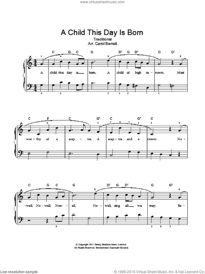 A Child This Day Is Born sheet music for voice and piano, intermediate. Score Image Preview.