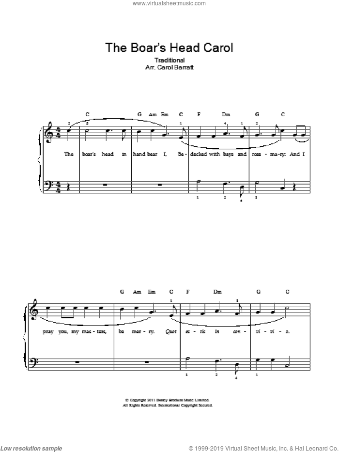 The Boar's Head Carol sheet music for voice and piano by Anonymous