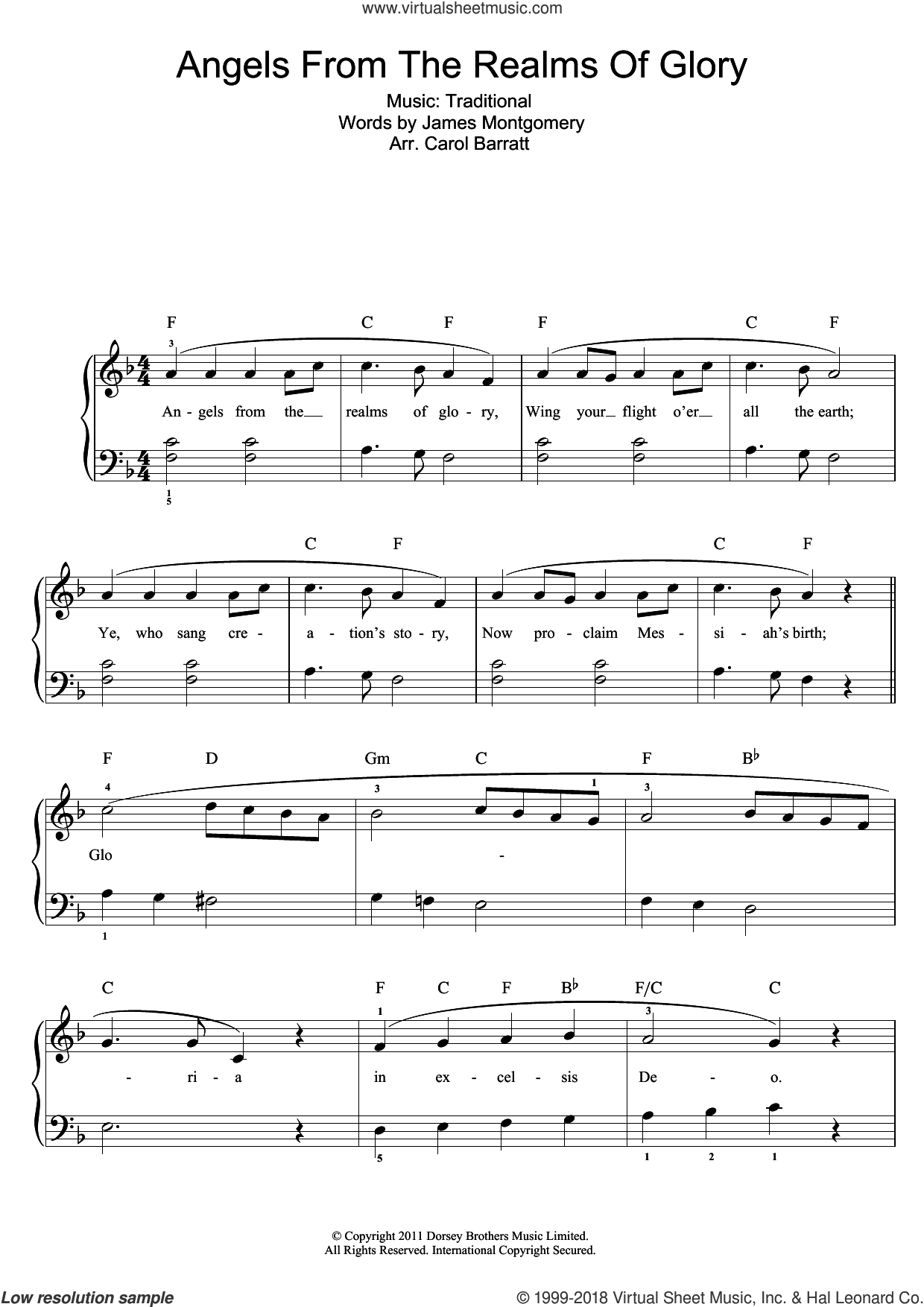 Angels From The Realms Of Glory sheet music for voice and piano
