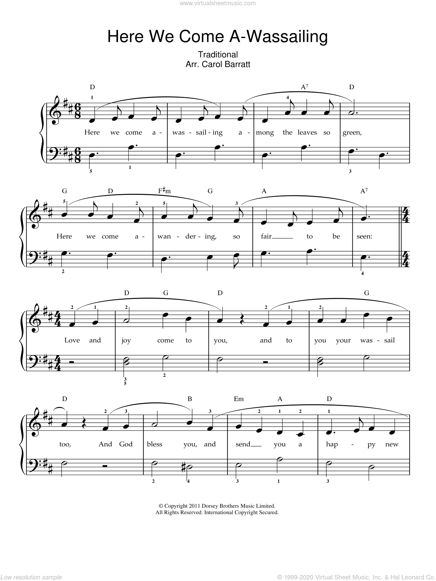Here We Come A-Wassailing sheet music for voice and piano. Score Image Preview.